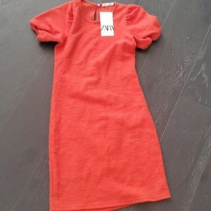 Zara Bloggers Fave Orange Dress nwt